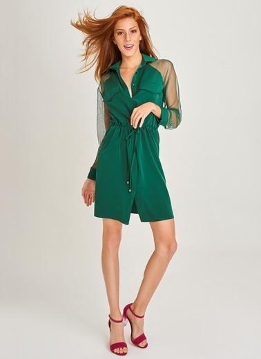 People By Fabrika Kolları Tüllü Elbise Yeşil